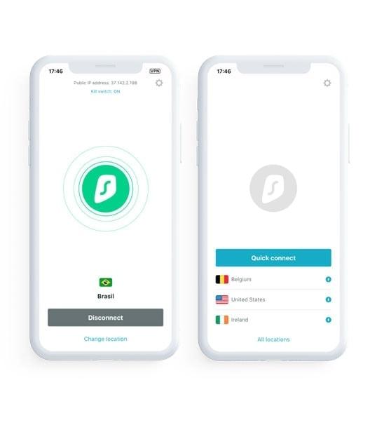 Sirfshark mobile interface